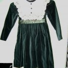 Beautiful Green Velvet & White Lace Girls Dress Sz6 NEW