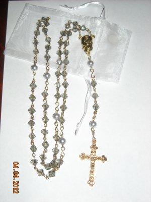 HANDMADE Light Gray Crystal Rosary ROS211LTGR