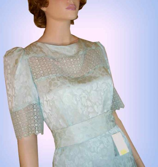 Unworn VINTAGE Silk Jacquard 2pc Gown - Pale Aqua -  Retail $380 -  YOUR PRICE $49.99 - Size 8