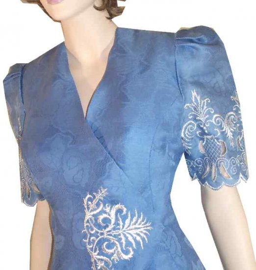 Vintage Couture Suit - Unworn 70s by IMAGES - Embroidered - Blue - Retail $360 - YOUR PRICE $49.99