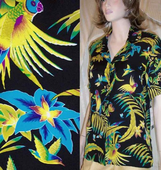 Silk Parrot Mofif Camp Shirt - Bold, Beautiful by Ann May - Retail $150 - YOUR PRICE $22.99 - XS