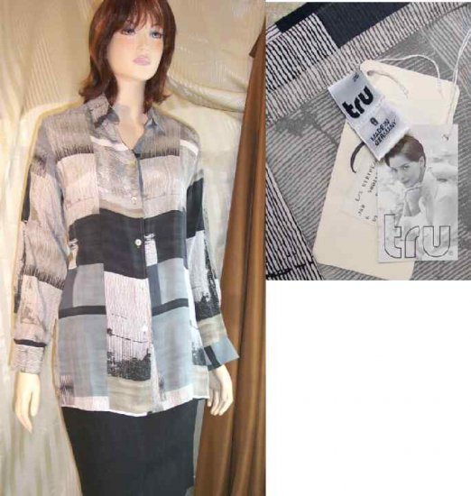Hi-Styled Silk Tunic Blouse in Grays by Tru of Germany - Retail $148 - YOUR PRICE $24.99 - 8