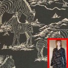 Silk Blouse Shirt wZebras by Ann May - Black-Tan - Retail $165 - YOUR PRICE $22.99 - sz M