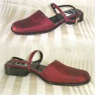 Mod Deep Red Silk Slingback Pumps by Paul Mayer - Retail $119 - YOUR PRICE $24.99 - 7 M