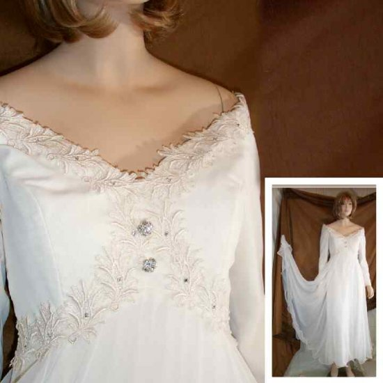 Billowy Ivory Princess Gown wSequins Rhinestones - Retail $950 - Your Price $149.99 - sz 4