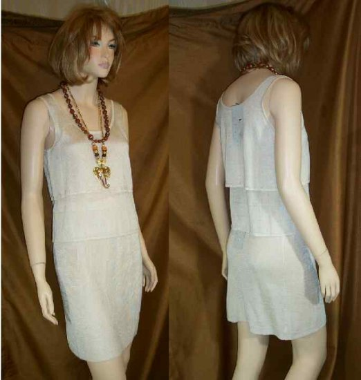 Lacy Knit 2pc Dress Suit Outfit by Mia Nola - Ivory - Your Price $25.99 - sz M
