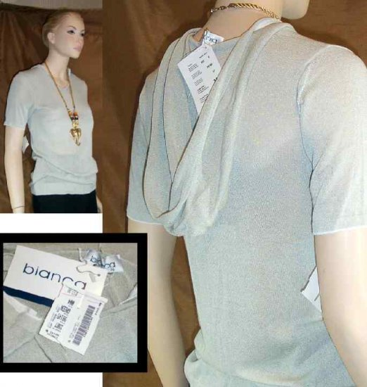 Bubble Hem Hoodie Sweater by Bianca of Germany - Your Price $21.99 - Retail $160 - sz 4