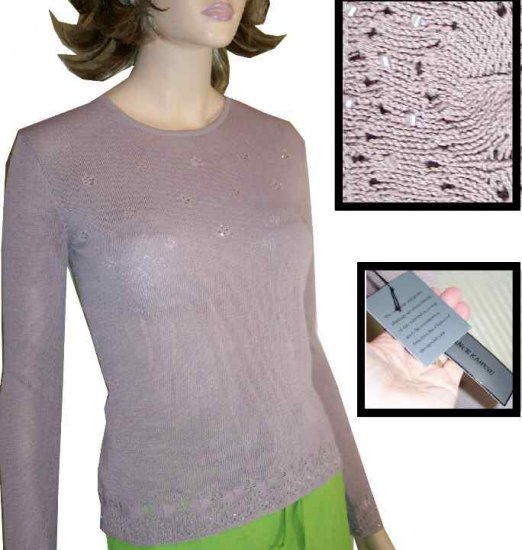 Lance Karesh Delicate Beaded Mauve Sweater - $19.99 - Retail $165 - sz S