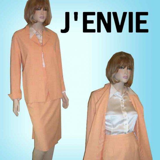 J'Envie Pastel Tangerine Suit - Slimming - $54.99 - Retail $400 - sz 18
