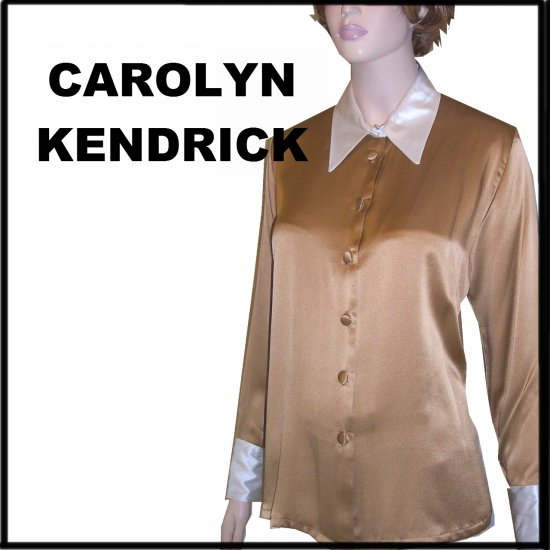 Caroline Kendrick Old Gold Silk Blouse wCream French Cuffs - $29.99 - retail $145 - sz 8