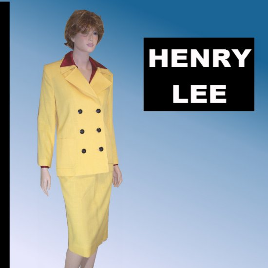 Canary Yellow Military-Look Career Suit by Henry Lee - $19.99 - sz 6 - 8