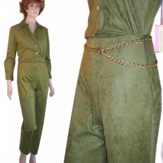 Sueded Pant Shirt Suit in Spicy Olive by K.A.T.E. - $19.99 - sz  S