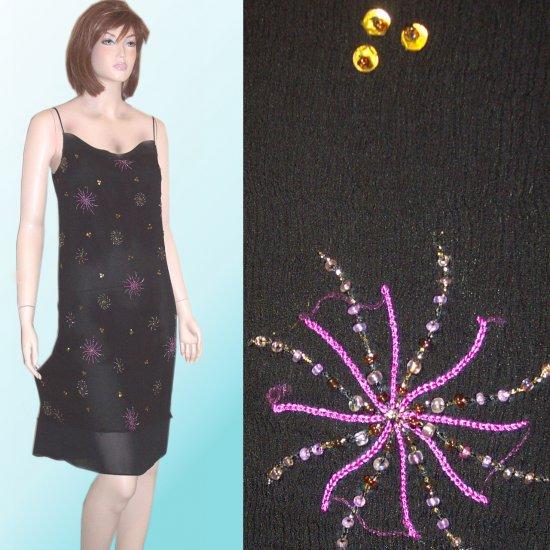 Silk Beaded Pinwheel Pattern Dress by Easel $24.99 - sz 6 * Retail $245