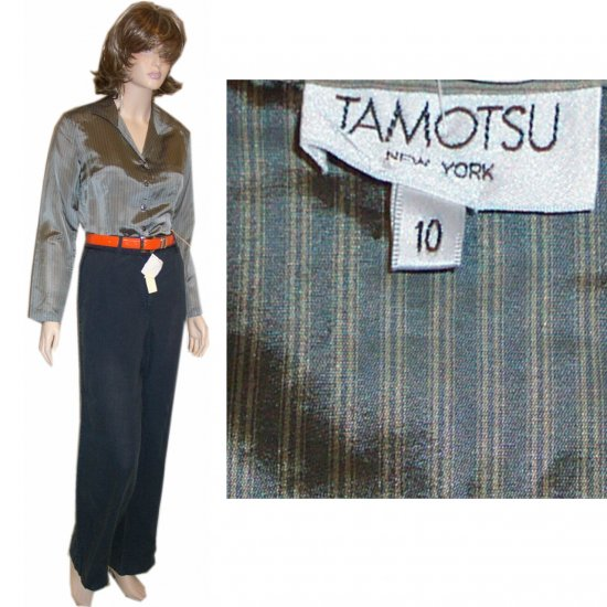 Tamotsu * Silky Gray on Gray Executive Blouse * sz 10 * $11.99 - Retail $187