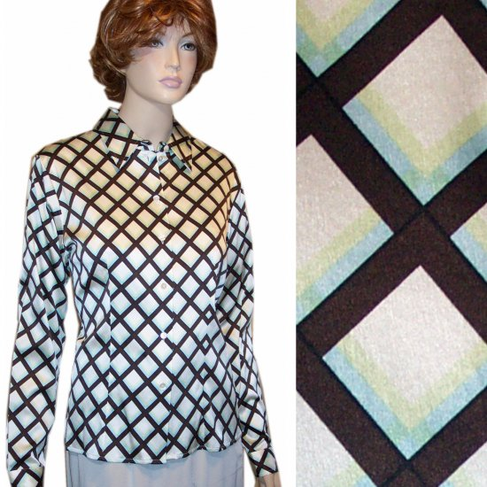 Ishyu * Stretch Silk Executive Blouse * Diamond Pattern * $24.99 * Retail $120 * sz 10
