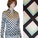 Ishyu * Stretch Silk Executive Blouse * Diamond Pattern * $24.99 * Retail $120 * sz 10