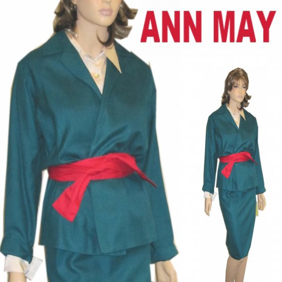 Woven Silk 'Kimono' Suit by Ann May * Aqua * YOUR PRICE $32.99 * Retail $390 * sz 6-8