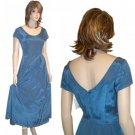 Vintage Custom Rib Taffeta Crinoline Gown UNWORN * Blue * Small