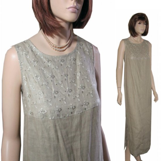Natural Linen Empire Eyelet Maxi Dress * Beige * by 20 SOUTH * Your Price $11.99