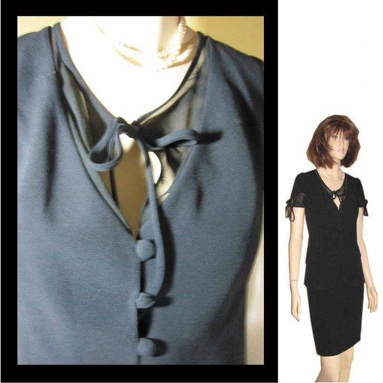 Retail $655 - sz 8 - ROUGE A LEVRES Italian 2pc Dress Suit - YOUR PRICE $159 - Black