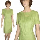 "80s ""Mod"" Lime Linen Dress - UNOWN orig $250 by Kelly Graham - sz M"