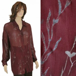 Semi-Sheer Evening Tunic - Burgundy & Glitter MSRP $170 by Olsen Collection - oversized 10