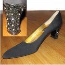 Black Evening Pumps wRhinestones - sz 9-1/2AAA - by Tim Hitsman - Retail $165