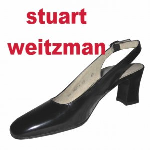 Stuart Weitzman Black Patent Slingback Pumps - size 6AA - Retail $199