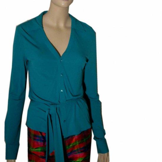 sz M - EQUIPMENT Knit Silk Blouse Cardigan wAscot - $29.99 - Retail $157 - aqua