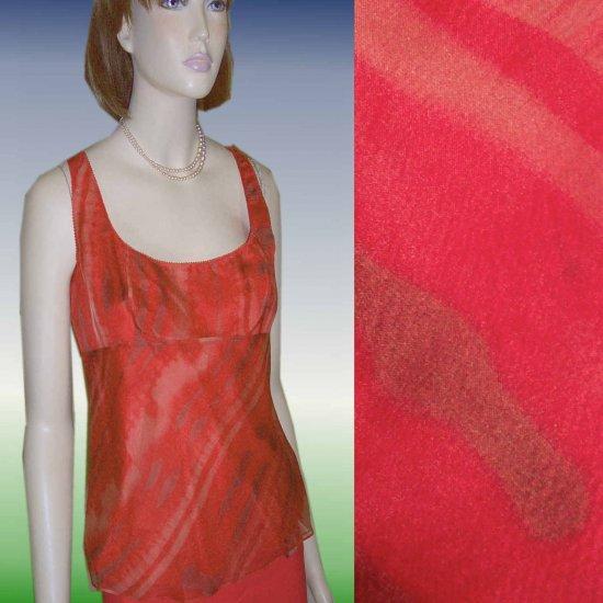 sz 8 TAHARI Silk Chiffon Baby Doll Flirt Blouse $24.99 - Retail $183