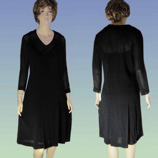 sz 10 ROUGE a LEVRES Italian Gauzy Wool Layered Dress - Black $89.99 - Retail $680