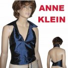 sz M ANNE KELIN Unique Wrap Body Silk Halter Vest - Sapphire $29.99 MSRP $153