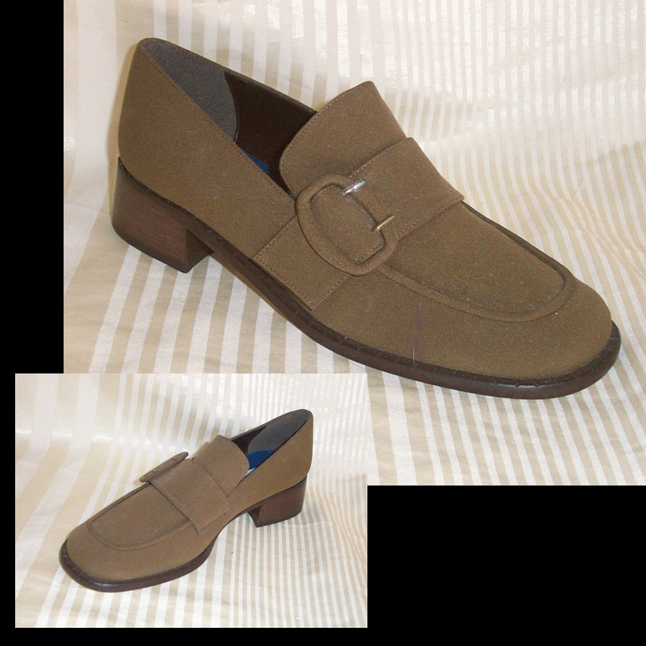 Brown Buckle Microfiber Loafers by A. Marinelli - size 7.5M