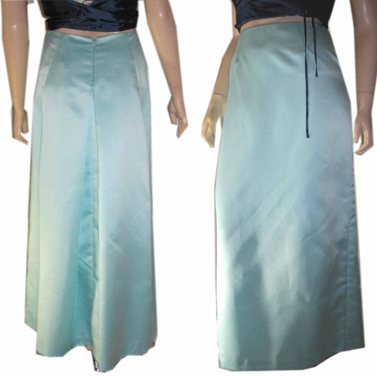 sz 8 - NICOLE MILLER Pastel Aqua Satin Evening Skirt $24.99