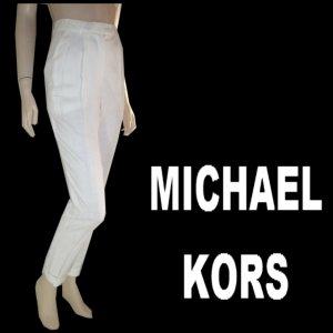 sz 4 MICHAEL KORS Off-White Italian Linen Pants $49.99 - List Price $305