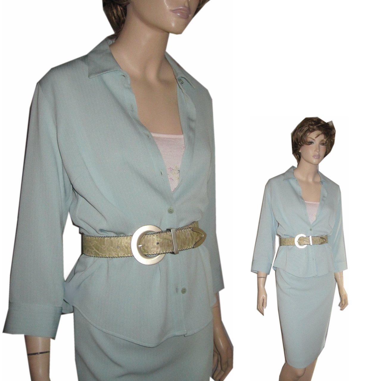 sz 6 ALEX GARFIELD Skirt Suit Set in Aquamarine $49.99 - List price $336