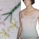 sz M Embroidered Knit Camisole Top in Pastel by Christine Phillipe
