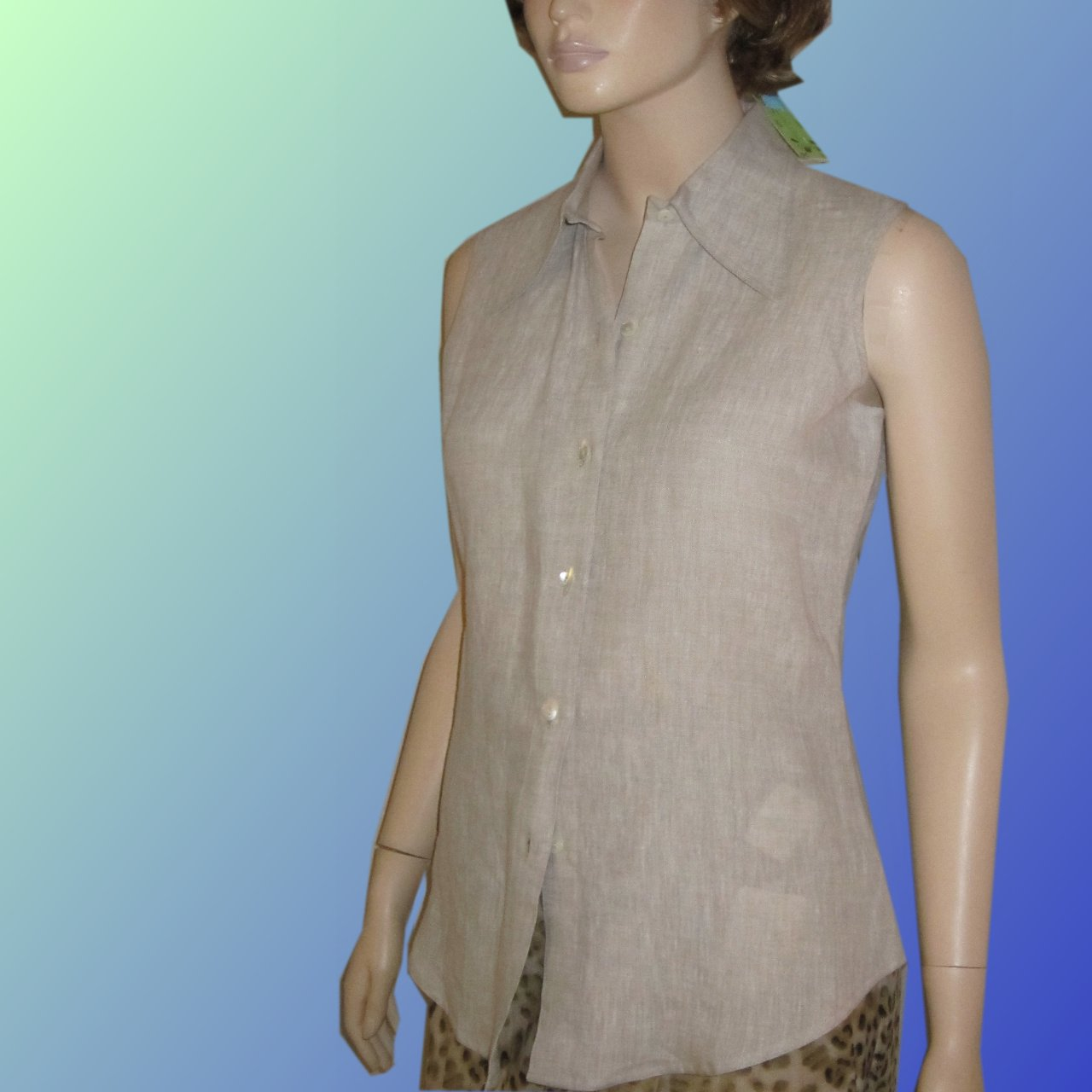 sz XS VAN TISSE Natural Stone Linen Sleeveless Blouse $19.99