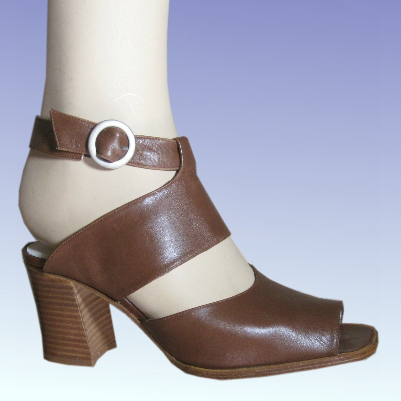 sz 7-.5 Chunky Ankle Strap Open Pumps SHoes by Amiana  $22.99 - List Price $145