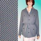 IRIS SINGER sz 14 Military Cargo Safari Belted Jacket Blk-Wht Tweed Retail $325 Your Price $49.99
