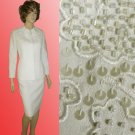 Glorious JOHN MEYER Formal White Suit - Beads Sequins Embroidery - 10 PETITE