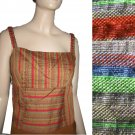 sz S RIALTO by Joy Perreras - Camisole Sleeveless Blouse Top in Multi Color Linen Seersucker