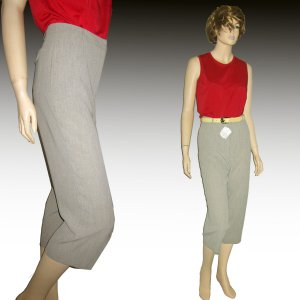 New Yansi Fugel Wide Leg CROP PANTS  Microfiber $24.99 Retail $176 size 4 tan