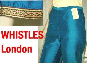 Thai Silk wGold Trim Capri Pants by WHISTLES sz 8 $24.99 - Retail $199