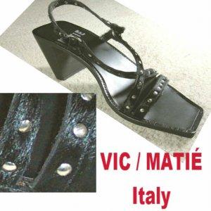 VIC MATIE Italian Pumps Sandals Shoes wSTUDS & Pony Hide GOTHIC $29.99 - Retail $168 size 7B