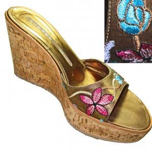 ALBANO Italian Cork Sole WEDGE PLATFORM Slide Shoes Embroidered 5.5