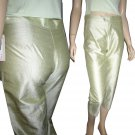 "Celery Green Thai Silk Crop Pants by A. GOLD E. Waist 29"" $19.99 Retail $124"