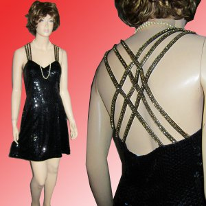 DropDead BACK on this NEW NITELINE Della Roufogali COCKTAIL DRESS Black wGold 6