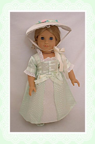 Green Colonial Gown for 18 inch Doll