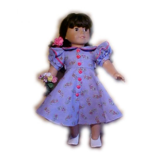 Blue Floral Dress for 18 inch Doll